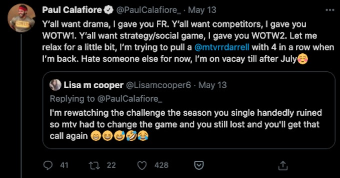 paulie calafiore tweets about appearing on the challenge