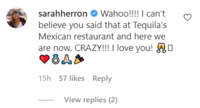 Sarah Herron comment on her now-fiance's Instagram post