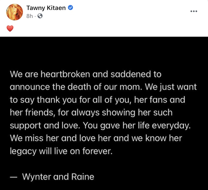 announcement on tawny kitaen official facebook page