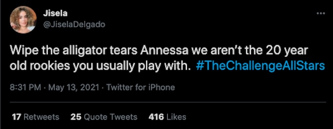 the challenge star aneesa delgado tweets about all stars episode 7