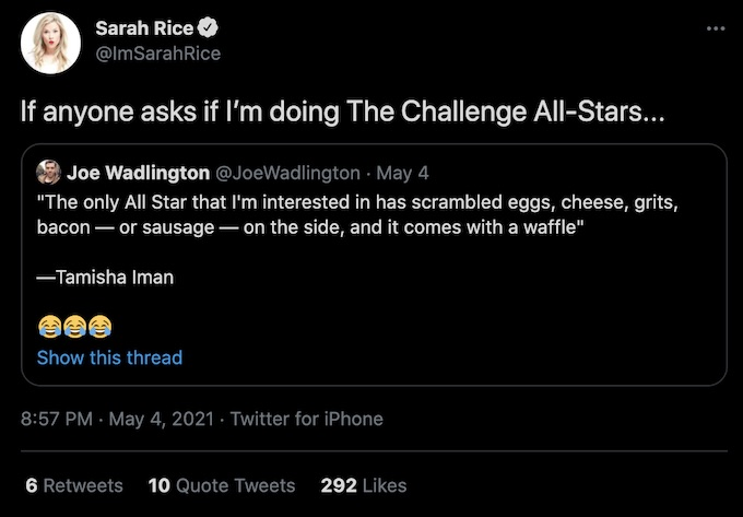 sarah rice from the challenge tweets about all stars