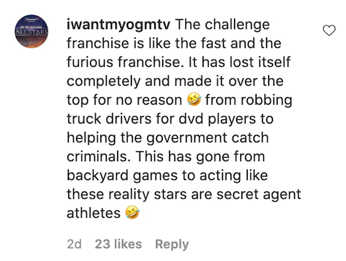 fan comments challenge is similar to fast furious movies