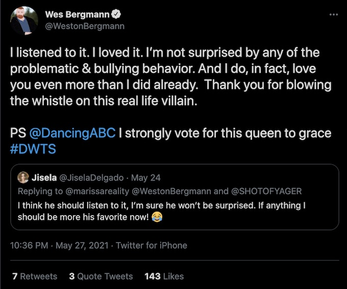 wes bergmann refers to his castmate as real life villain