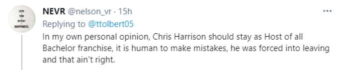 A fan thinks Chris Harrison should have stayed