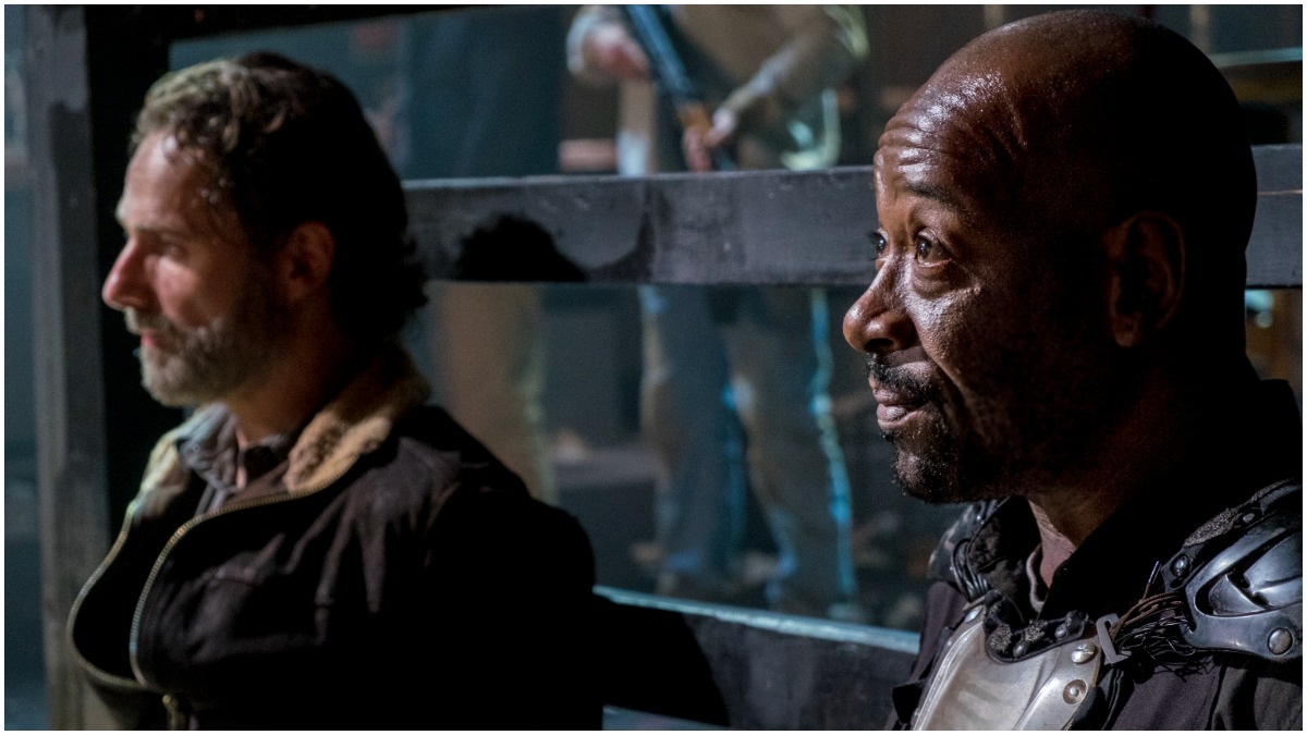 Andrew Lincoln as Rick Grimes and Lennie James as Morgan Jones, as seen in Episode 14 of AMC's The Walking Dead Season 8