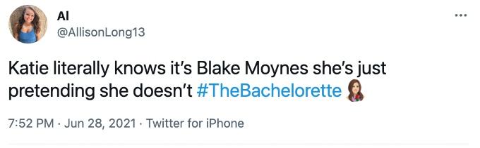 Bachelorette tweet