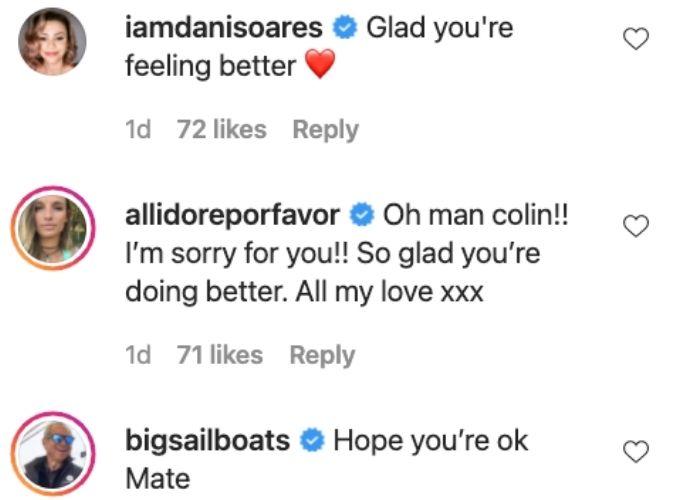 Dani Glenn and Alli hope Colin gets well soon.