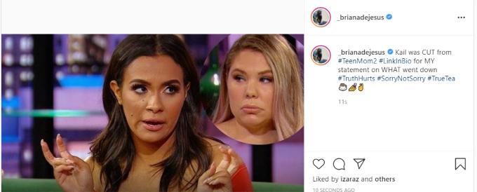 Briana DeJesus of Teen Mom 2 on Instagram