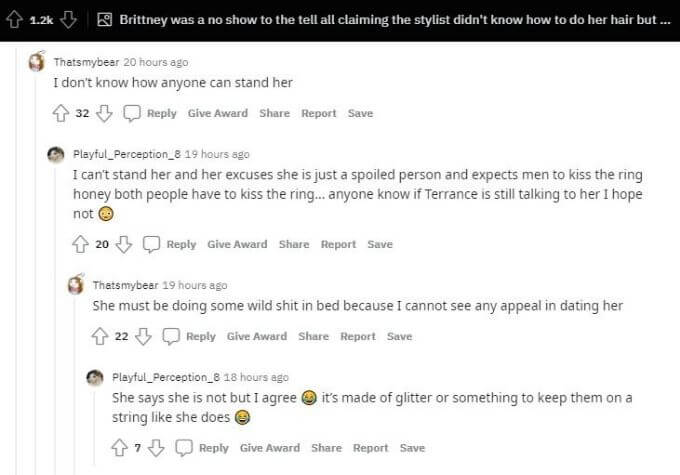 Reddit thread about Brittany Banks
