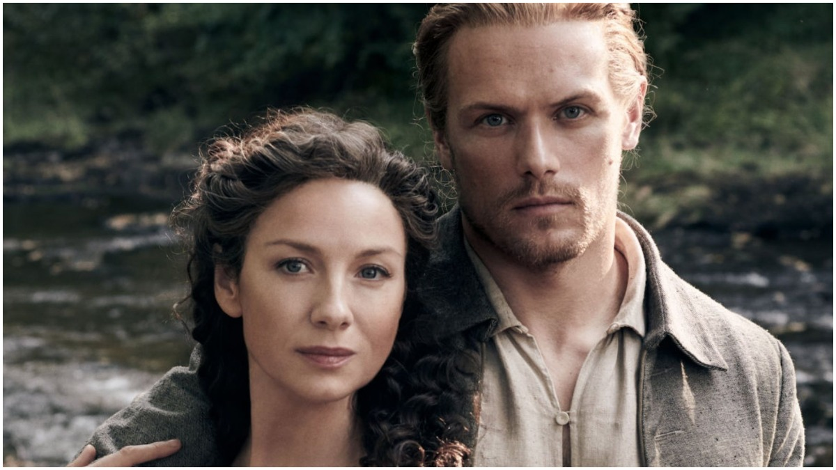 Catriona Balfe as Claire Fraser and Sam Heughan as Jamie Fraser appear in Starz's Outlander