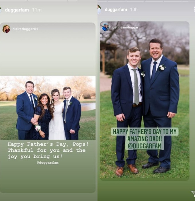 Justin Duggar and Claire Spivey post about Jim Bob Duggar.