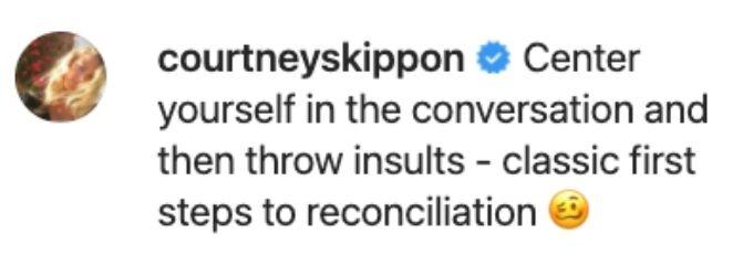 Below Deck's Courtney weighs in on JL's post.