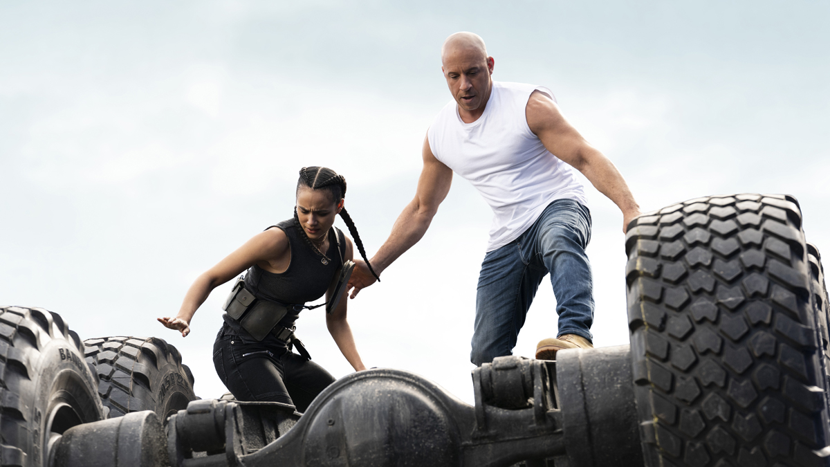 Dom and Ramsey jumping off a car in Fast and Furious 9.