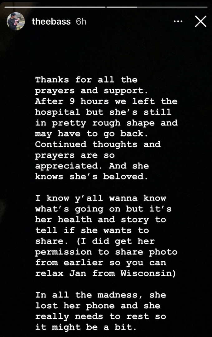 Evan shares update on Carly's health scare