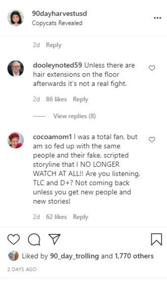 IG post about Chantel and Elizabeth's family fights