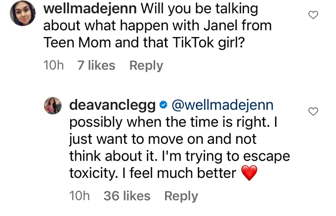 Instagram follower asked Deavan Clegg about podcast