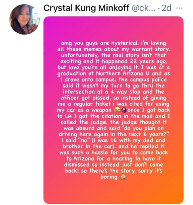 Crystal Kung-Minkoff explains her arrest warrant