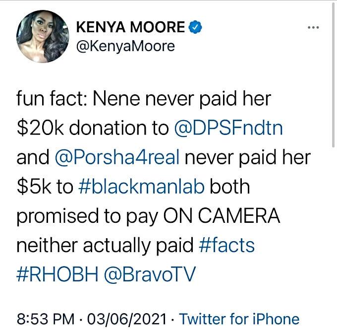 RHOA star Kenya Moore calls out NeNe Leakes and Porsha Williams