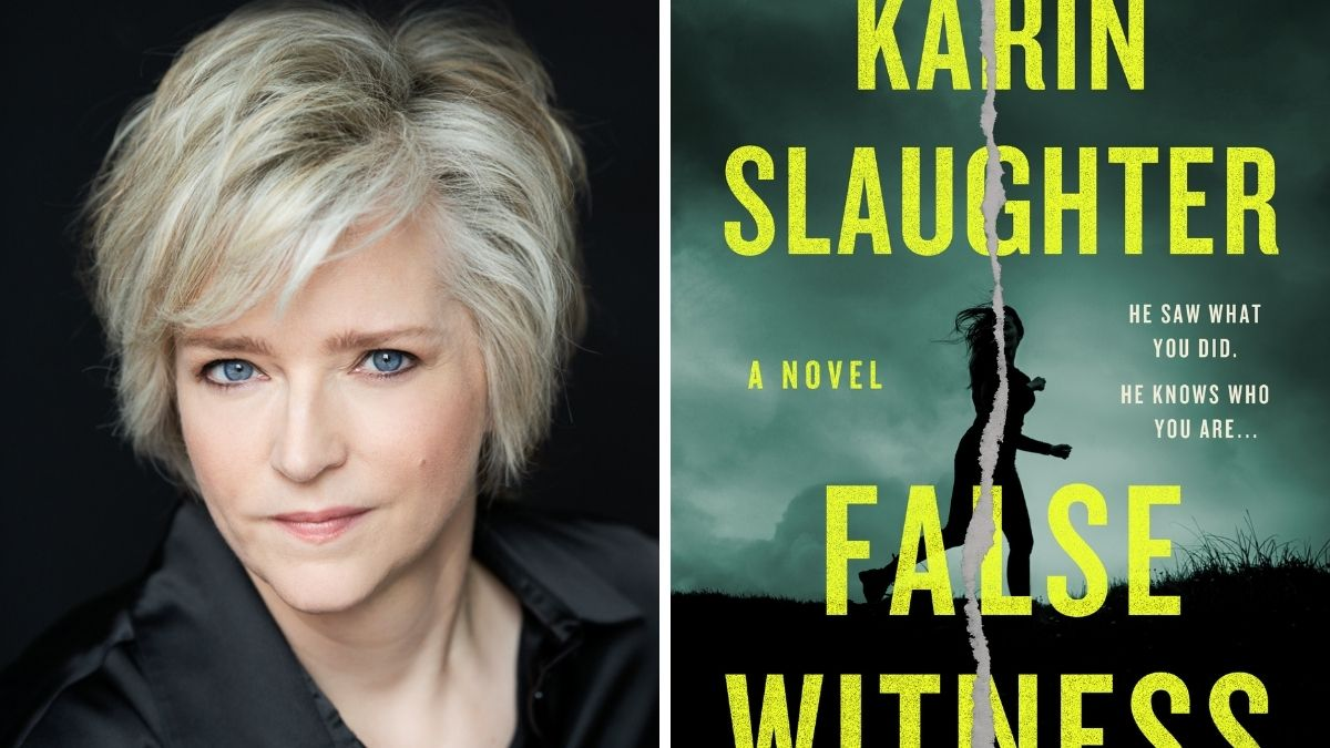 Image of Karin Slaughter and book cover of False Witness.