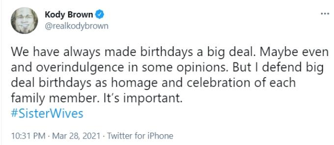Kody Brown of Sister Wives on Twitter