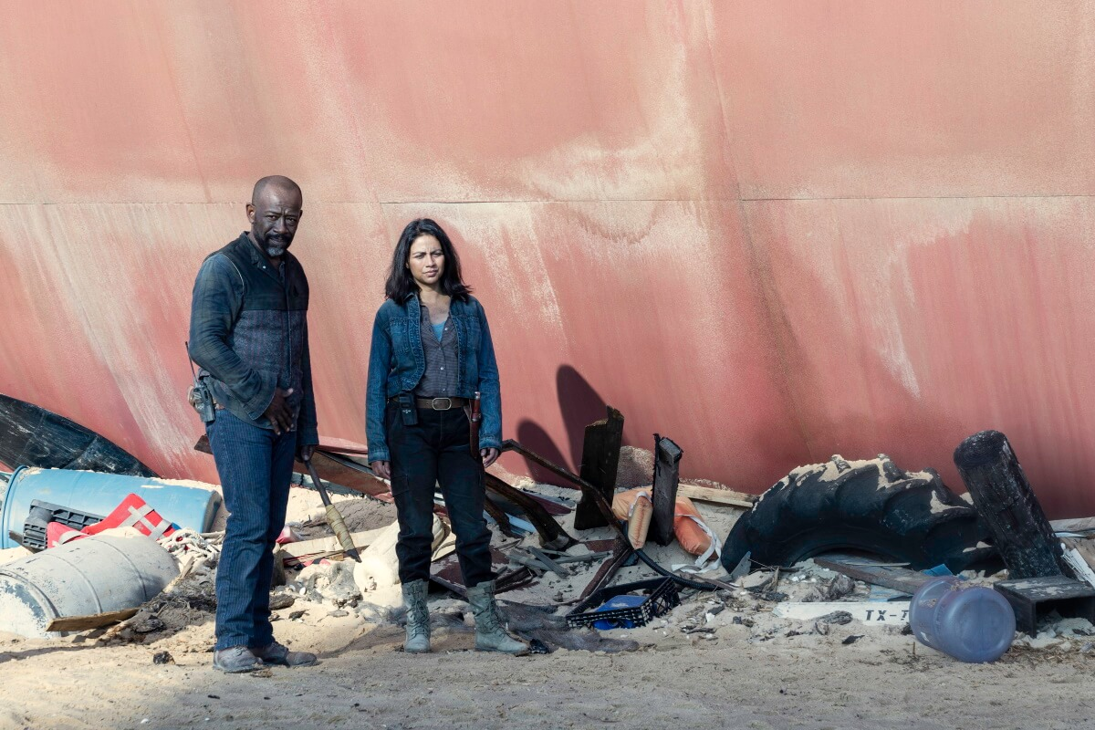 Lennie James as Morgan Jones and Karen David as Grace, as seen in Episode 16 of AMC's Fear the Walking Dead Season 6