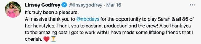 Linsey Godfrey says good-bye to Days.