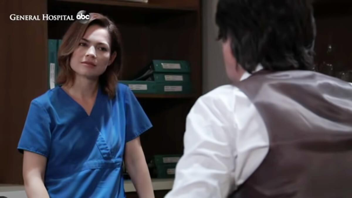 Rebecca Herbst and Michael Easton as Liz and Finn on General Hospital.