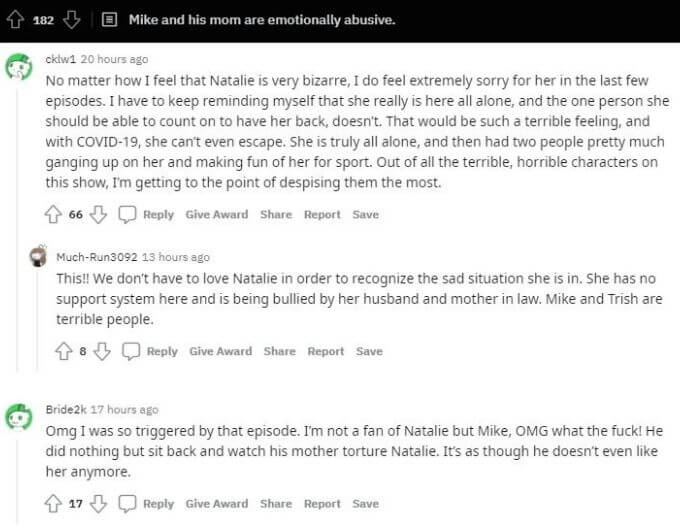 Reddit thread about Trish, Mike, and Natalie