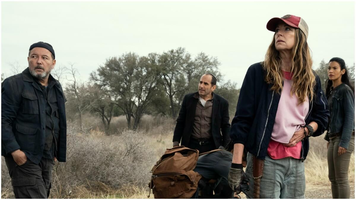 Ruben Blades as Daniel Salazar, Peter Jacobson as Jacob, Colby Hollman as Wes, Mo Collins as Sarah, and Danay Garcia as Luciana, as seen in Episode 16 of AMC's Fear the Walking Dead Season 6