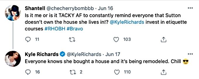 RHOBH star Kyle Richards claps back at Twitter user