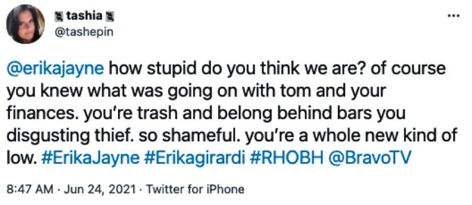RHOBH viewers bash Erika Jayne
