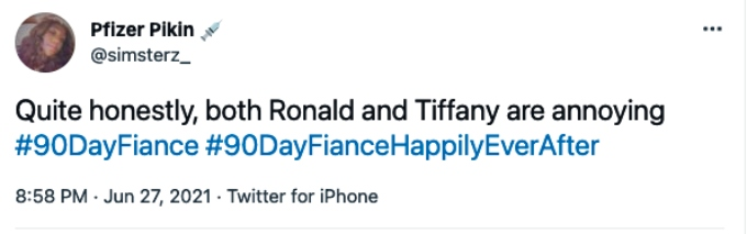 TV viewers are annoyed with Tiffany Franco and Ronald Smith