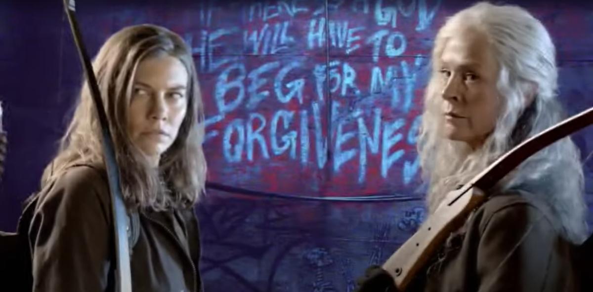 Lauren Cohan as Maggie Rhee and Melissa McBride as Carol Peletier, as seen in the Season 11 trailer for AMC's The Walking Dead