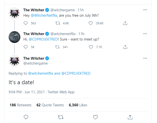 The Witcher Twitter page