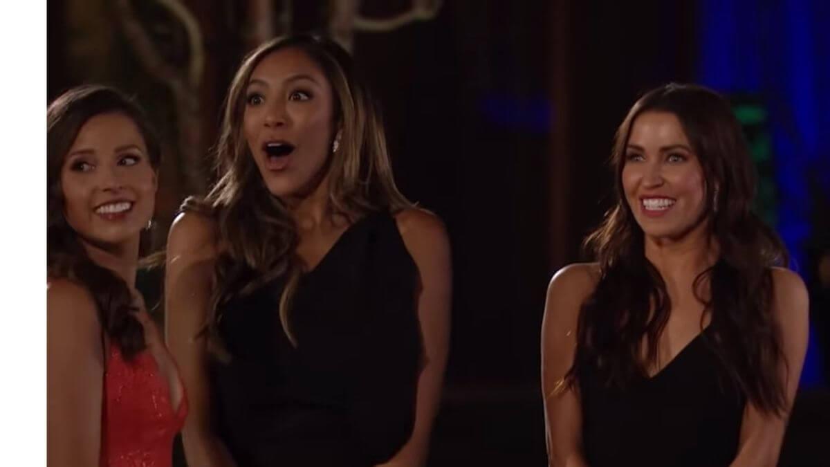 Tayshia Adams and Kaitlyn Bristowe hosting Katie Thurston's season of The Bachelorette