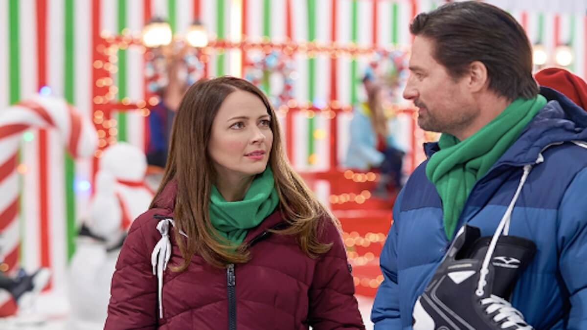 Amy Acker and Warren Christie star in a new Hallmark Channel Christmas movie, Crashing Through the Snow