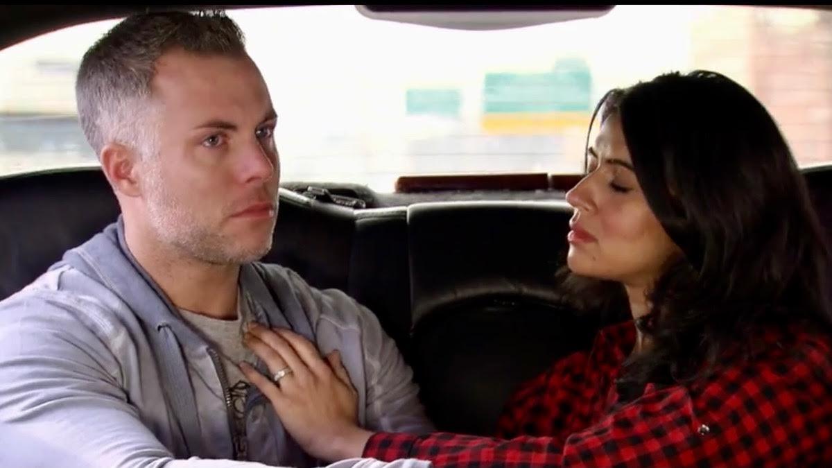 Davina comforts a tearful Sean in the car