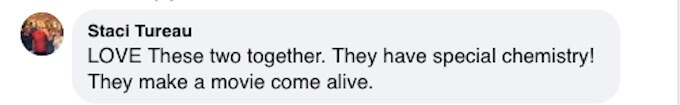 A fan comments on the chemistry between Hallmark stars Pascale Hutton and Kavan Smith on Facebook.