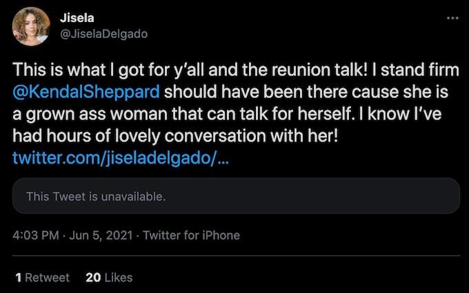jisela degaldo tweets about kendal comments from reunion episode