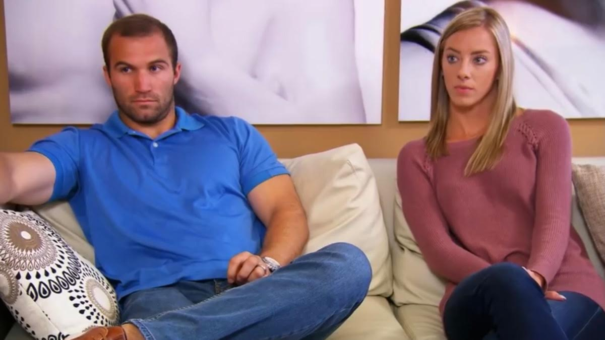 Molly and Jonathan tense up on the couch during a counseling session