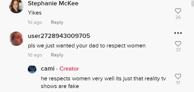 Comments on Camila Galavis' TikTok