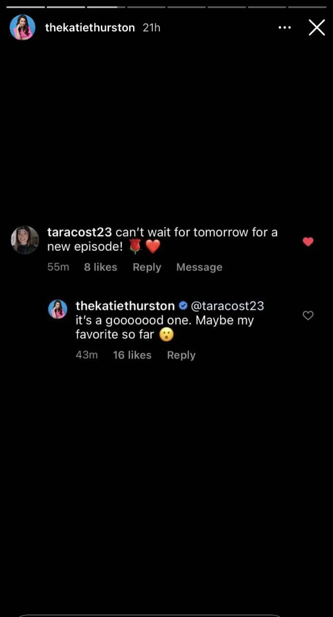 Katie Thurston's Instagram story