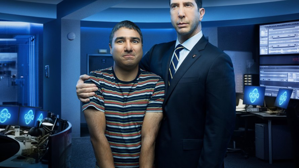 Nick Mohammed on the set with David Schwimmer