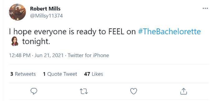 Rob Mills's tweet about The Bachelorette