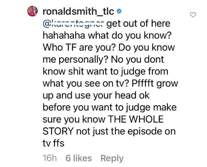 Comment from Ronald Smith's Instagram post.