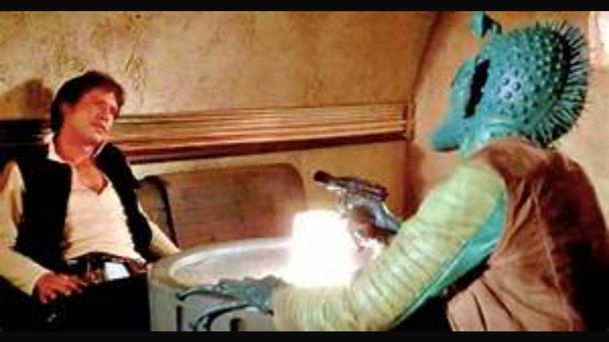 Han Solo and Greedo in Star Wars
