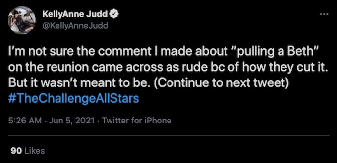 the challenge all stars kellyanne judd tweets about reunion comment