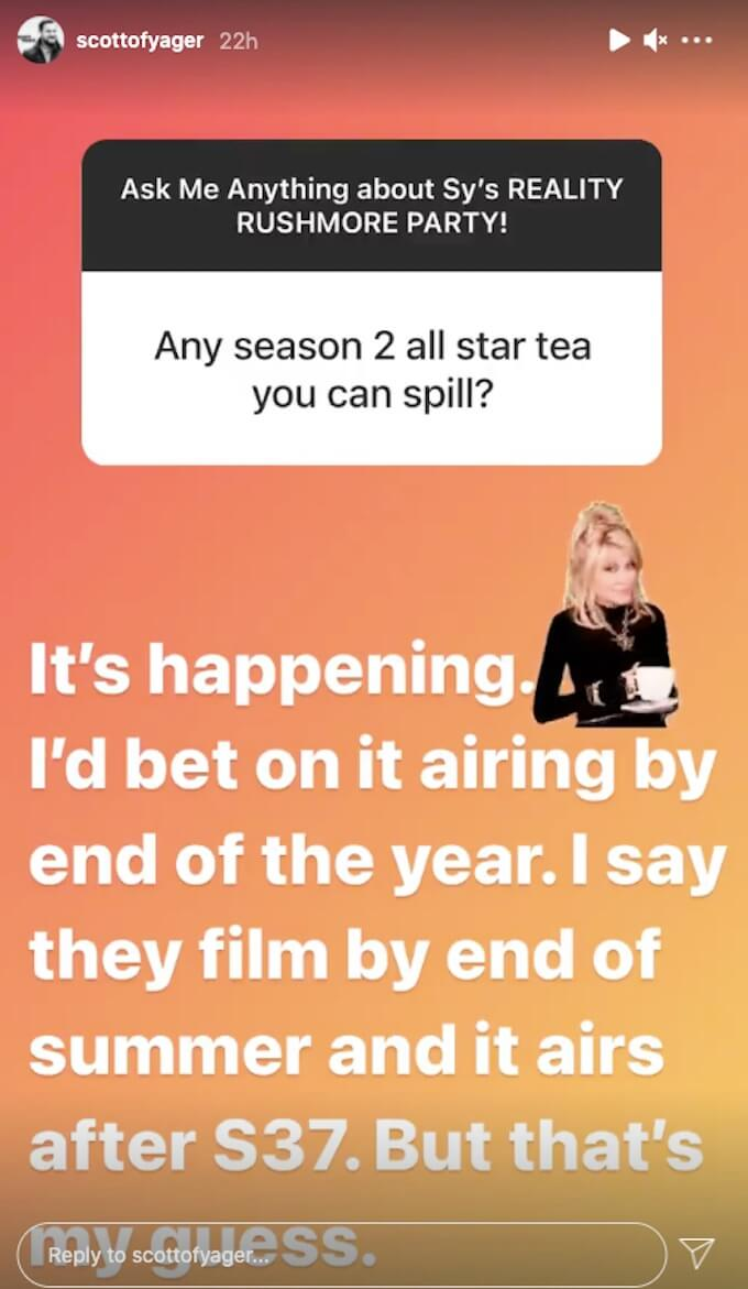 scott yager comments on challenge all stars 2 on IG Story
