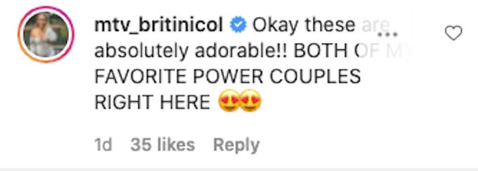 the challenge star britni ccomments on power couple ig post