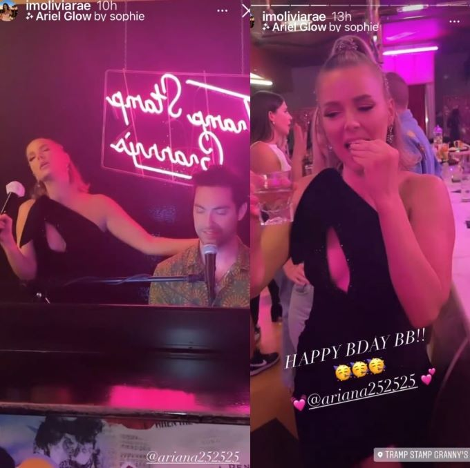Screenshots of Ariana's birthday.